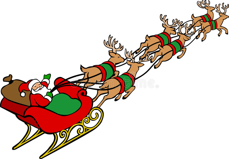 Santa Claus & Reindeer Sleigh. Illustration of a traditional red-suited Christmas Santa Claus in a sleigh pulled by reindeer