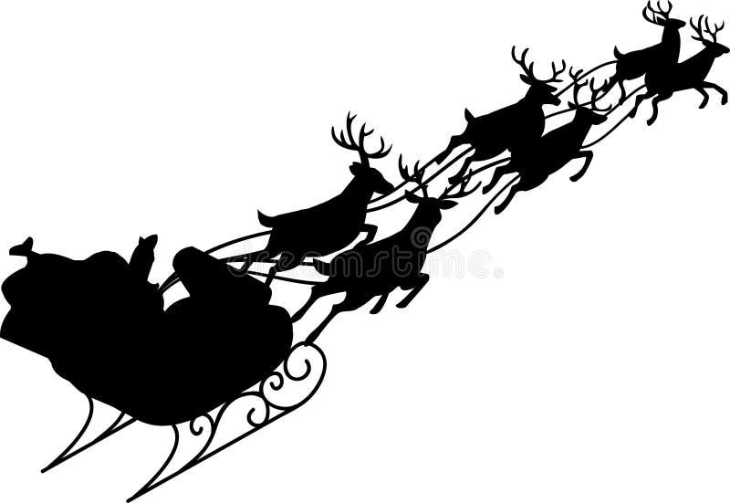 Santa Claus & Reindeer Sleigh. Illustration of Santa and his reindeer sleigh in silhouette