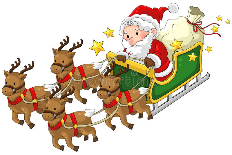 download santa claus on a reindeer sleigh in christmas in white isolated stock vector illustration - Santa Claus And Reindeers