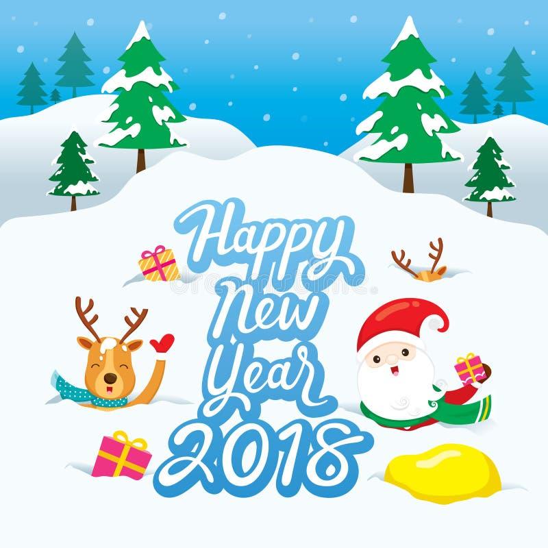 Santa Claus And Reindeer On Snowdrift stock de ilustración