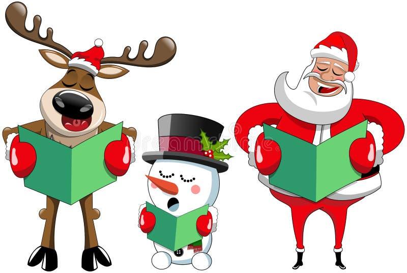 Santa Claus reindeer snowman singing christmas carol stock illustration