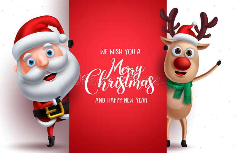 Santa claus and reindeer vector christmas characters holding a board. With merry christmas greeting in white background. Vector illustration template royalty free illustration