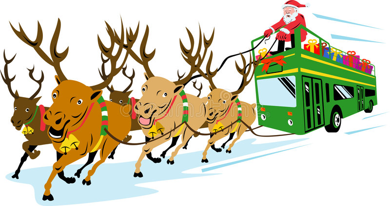 Santa Claus and reindeers royalty free illustration