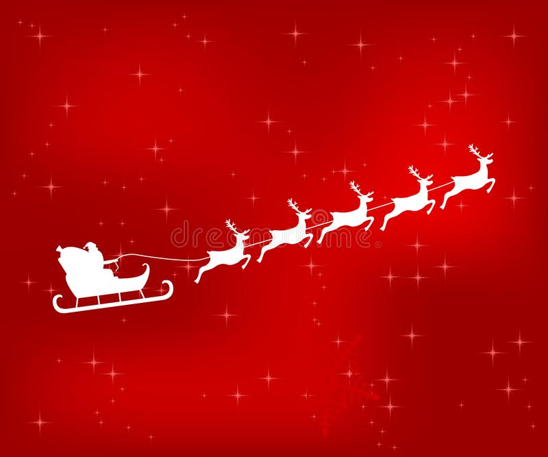 Santa Claus-Reitren auf einem roten glänzenden Weihnachtshintergrund lizenzfreie abbildung