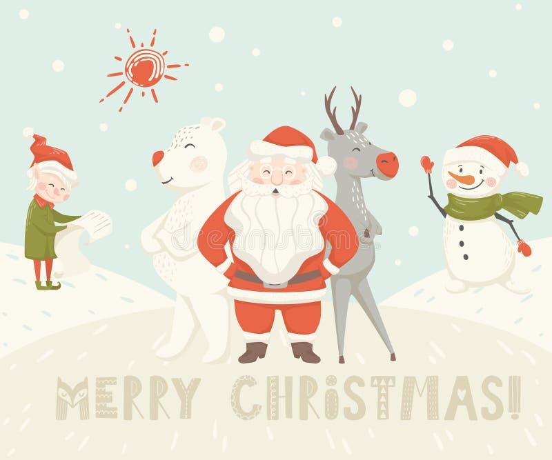 Santa Claus, Ren, Bär, Schneemann, Elfenskandinavierkarte lizenzfreie abbildung