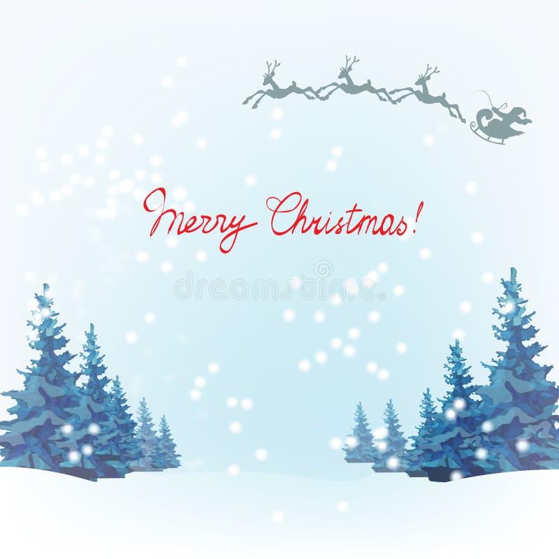 Santa Claus ren, mall för hälsningkort royaltyfri illustrationer