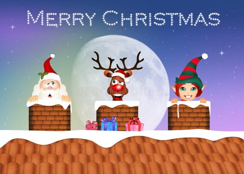Santa Claus, ren och älva på taket stock illustrationer
