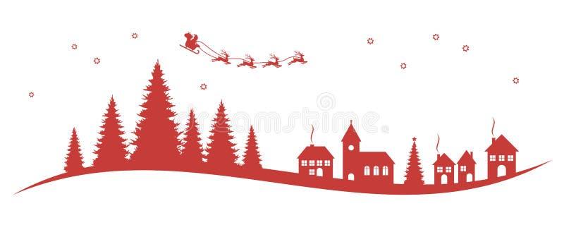 Santa Claus, renar, kyrka och barrträd royaltyfri illustrationer