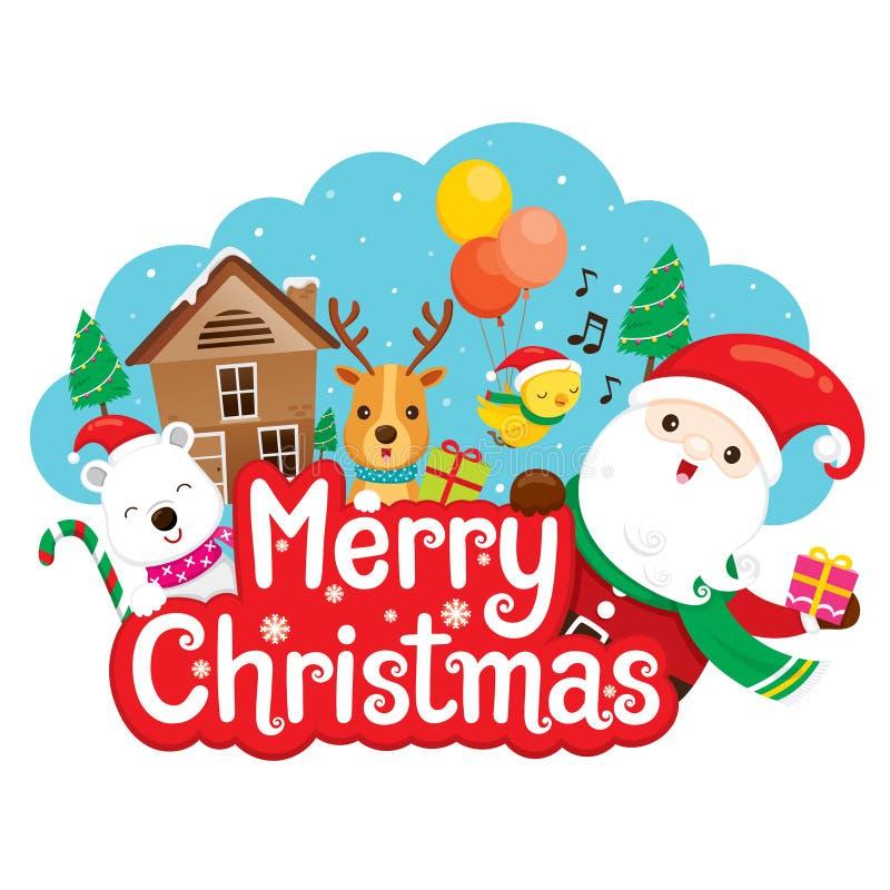Santa Claus, Rendier en Vriend op Vrolijke Kerstmisbanner royalty-vrije illustratie