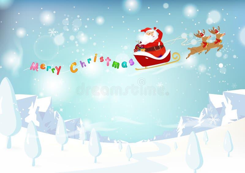 Santa Claus, renne, neige p en baisse d'imagination de paysage de montagne illustration libre de droits