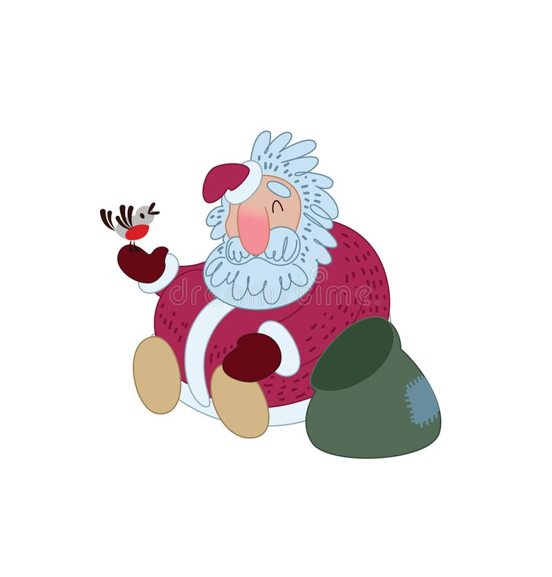 Santa Claus is resting with a bird. Illustration for greeting card. Vector illustration stock illustration
