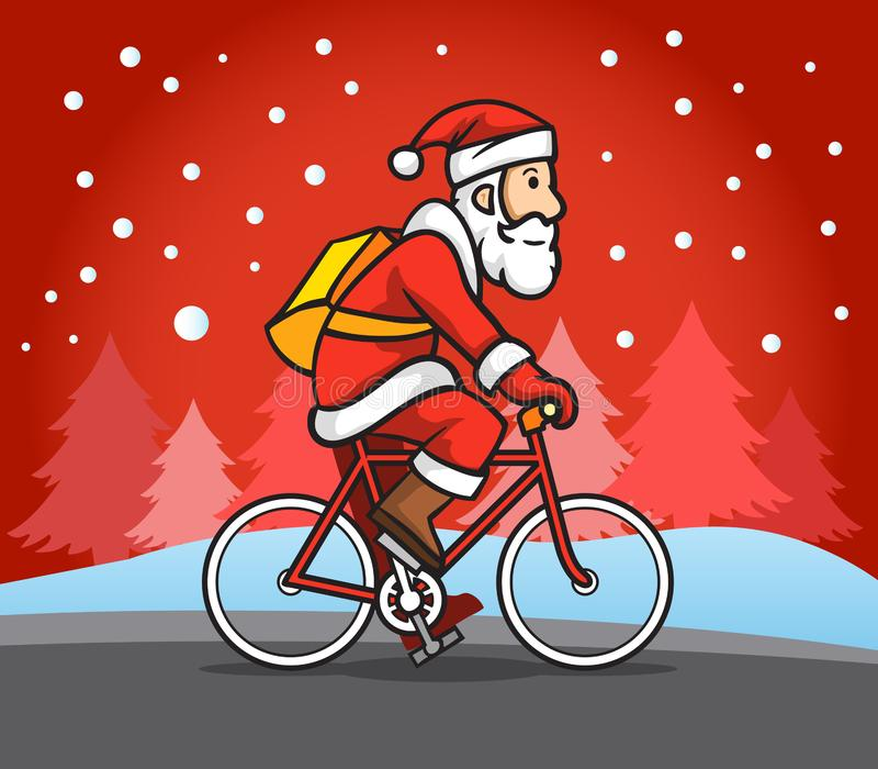 Santa Claus Ride Bicycle In The-Regen vector illustratie