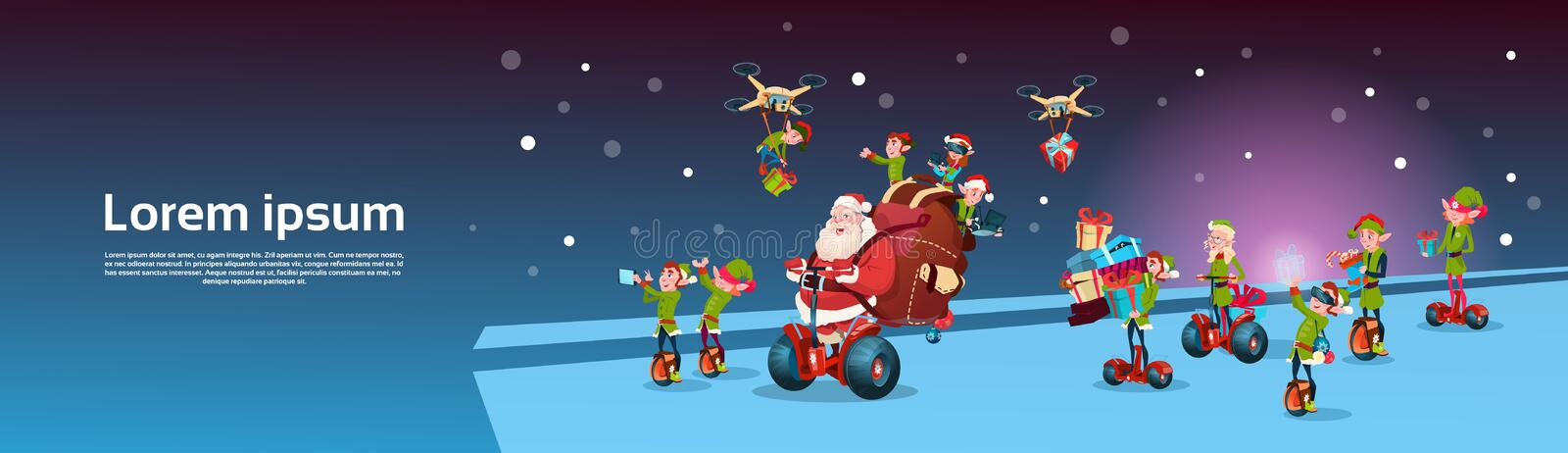 Santa Claus Ride Electric Segway Scooter, Elf Flying Drone Present Delivery Christmas Holiday New Year vector illustration