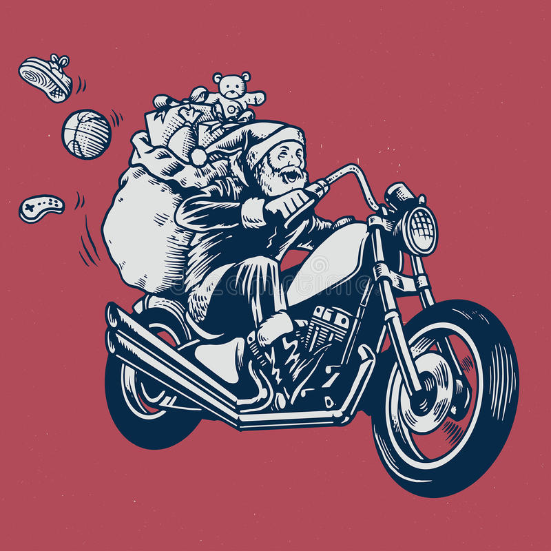 Santa claus ride a motorcycle with bunch of christmas gift stock illustration