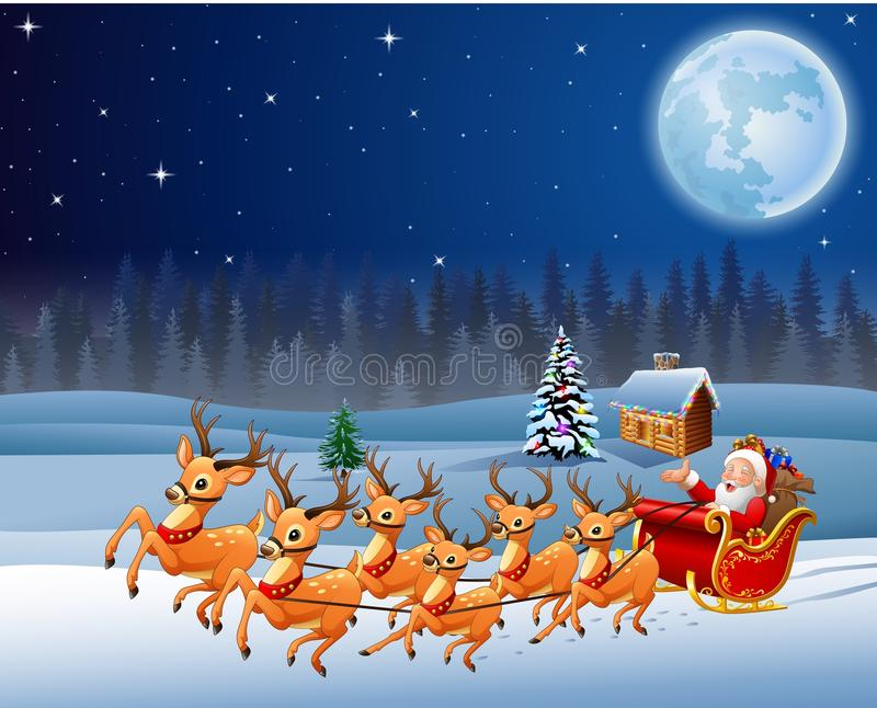 Santa Claus rides reindeer sleigh in Christmas night stock illustration