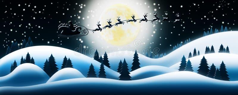 Santa Claus Rides Reindeer Sleigh en noche de la Navidad sobre el Sn stock de ilustración