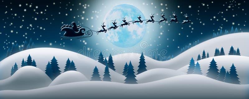 Santa Claus Rides Reindeer Sleigh in Kerstnacht over Sn royalty-vrije illustratie
