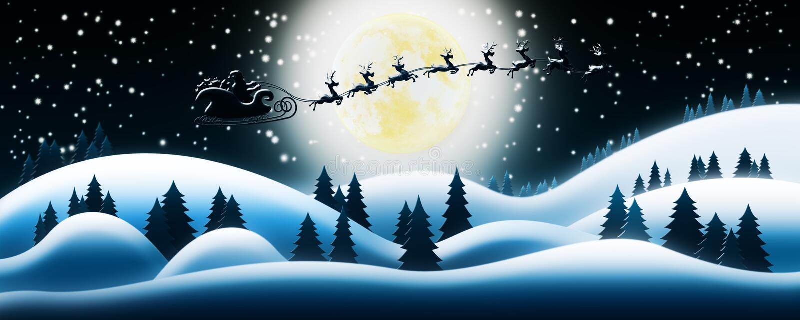 Santa Claus Rides Reindeer Sleigh in Kerstnacht over Sn stock illustratie