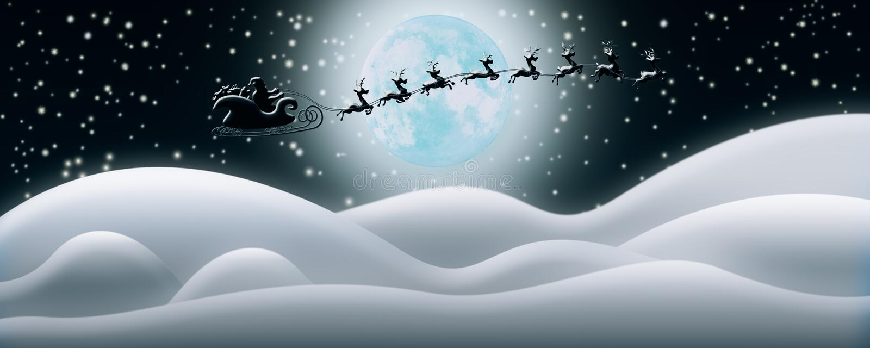 Santa Claus Rides Reindeer Sleigh in Kerstnacht over Sn vector illustratie