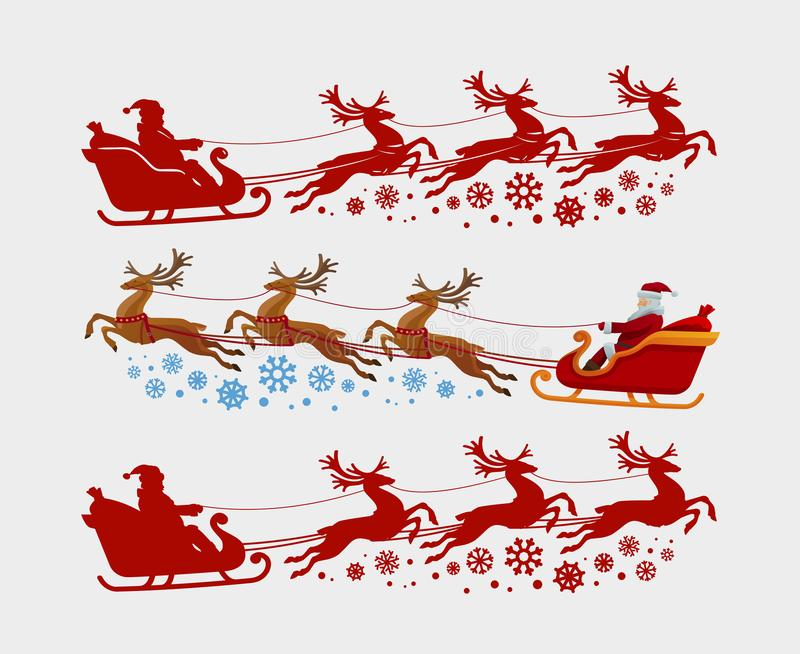 Santa Claus rides in sleigh pulled by reindeer. Christmas, xmas concept. Silhouette vector illustration. Santa Claus rides in sleigh pulled by reindeer vector illustration