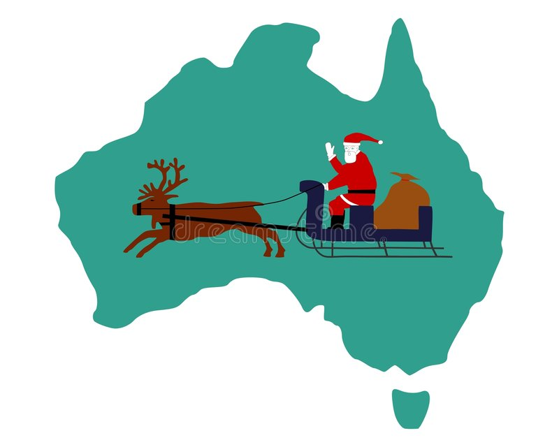 Santa Claus riding on his sleigh in Australia