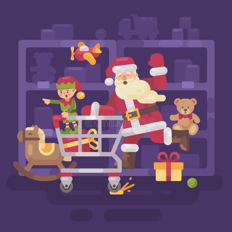 Santa Claus riding a shopping cart with his elf in a supermarket vector illustration