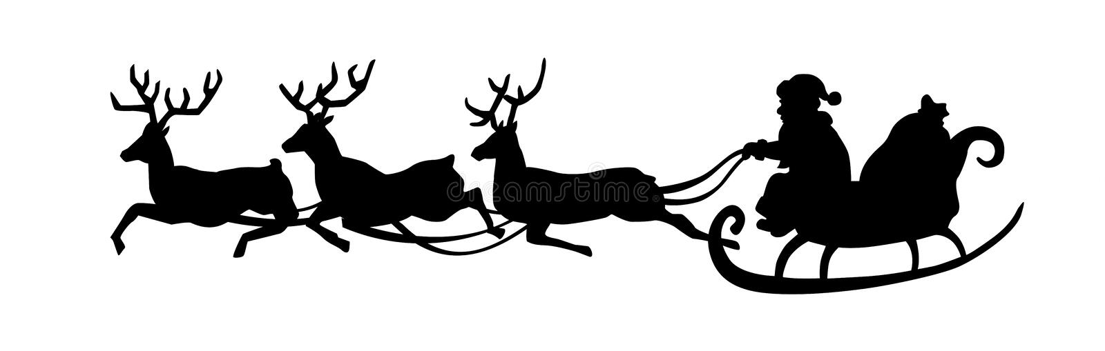 Santa Claus is riding in a sleigh with a cart of deer. Black Santa silhouette isolated on white background. Vector illustration. Santa Claus is riding in a stock illustration