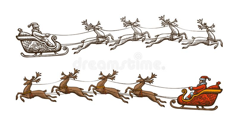 Santa Claus is riding in a sleigh. Christmas, celebration concept. Sketch vintage vector illustration stock photography