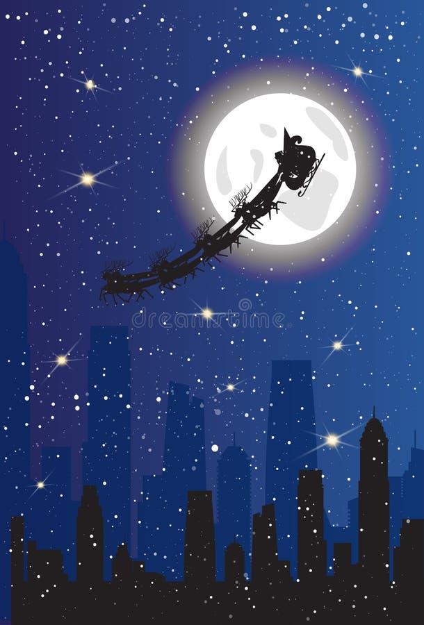 Santa Claus Riding Sleigh With Deers over de Moderne Banner Stads van de Achtergrondkerstmisdecoratie royalty-vrije illustratie