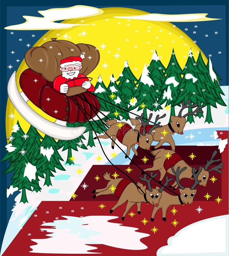 Santa Claus Riding Sleigh no Natal brilhante  ilustração royalty free