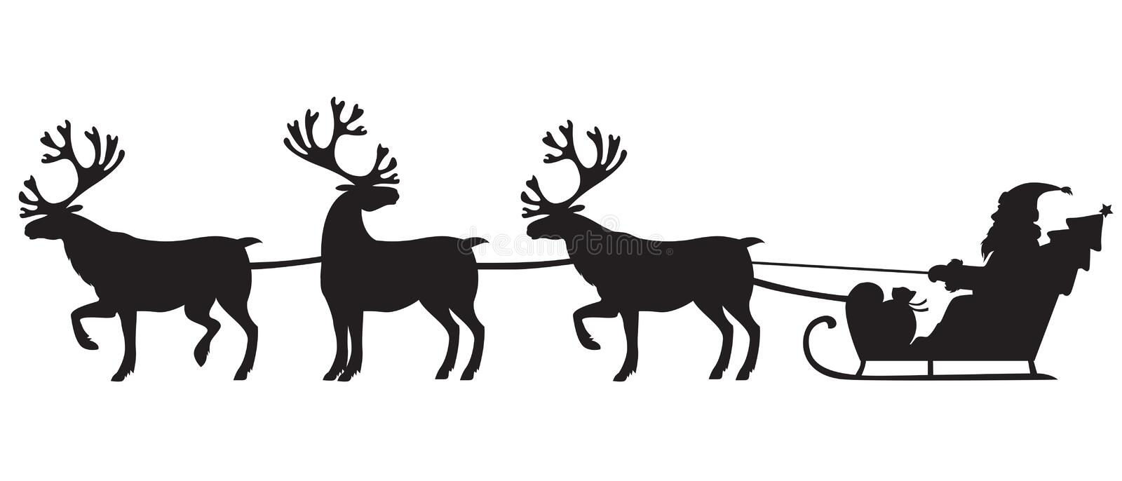Santa Claus riding a sleigh with reindeers vector illustration