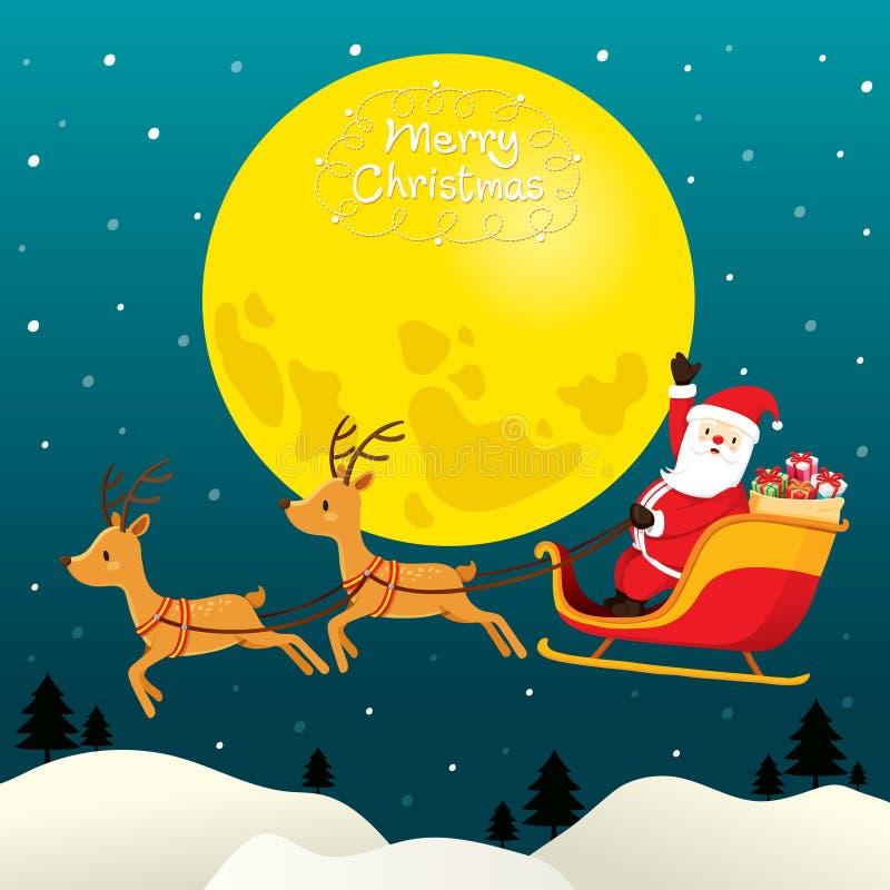 Santa Claus Riding On Sleigh, Volle maan stock illustratie