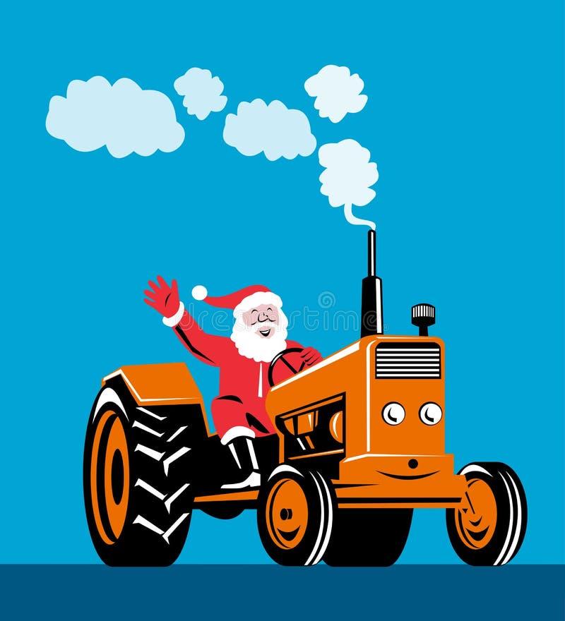 Santa Claus riding a tractor. Vector art of Santa Claus riding a tractor stock illustration