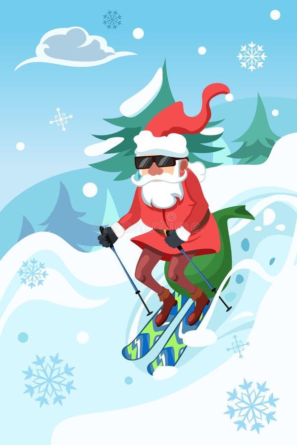 Santa Claus Riding um Snowboard ilustração royalty free