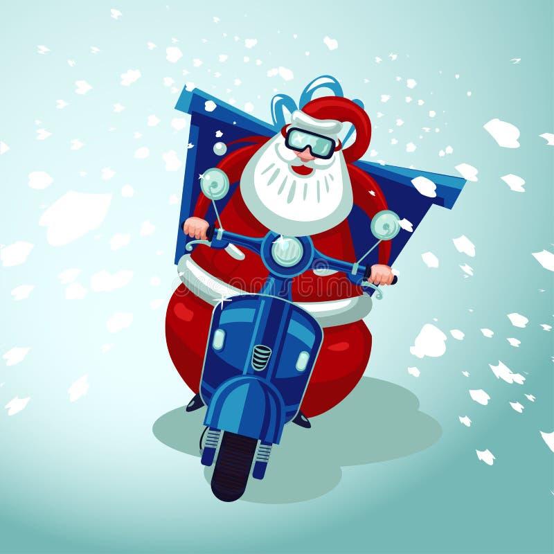 Santa Claus ridning på en tappningmotocykel Julklappleverans Online-service för lagerferiekurir vektor illustrationer