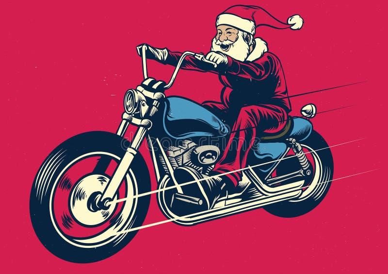 Santa Claus ridningmotorcykel vektor illustrationer