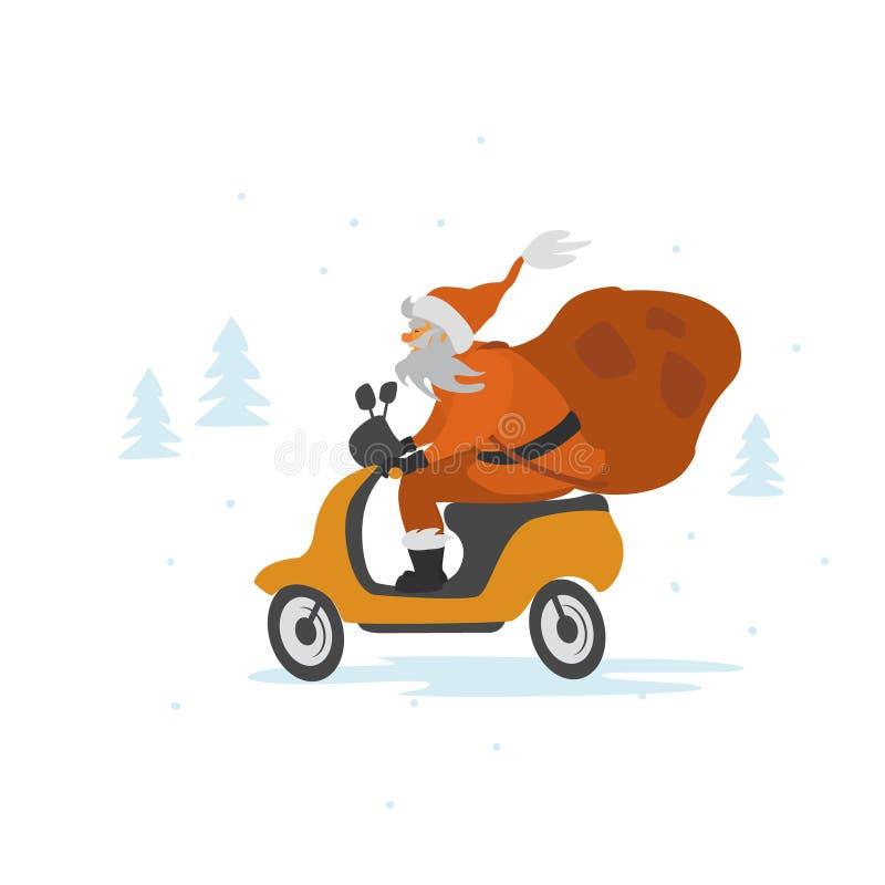 Santa Claus ridningsparkcykel med säcken av gåvor royaltyfri illustrationer