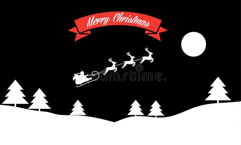 Santa Claus-ritten in een ar met hun rendier door de nacht stock illustratie