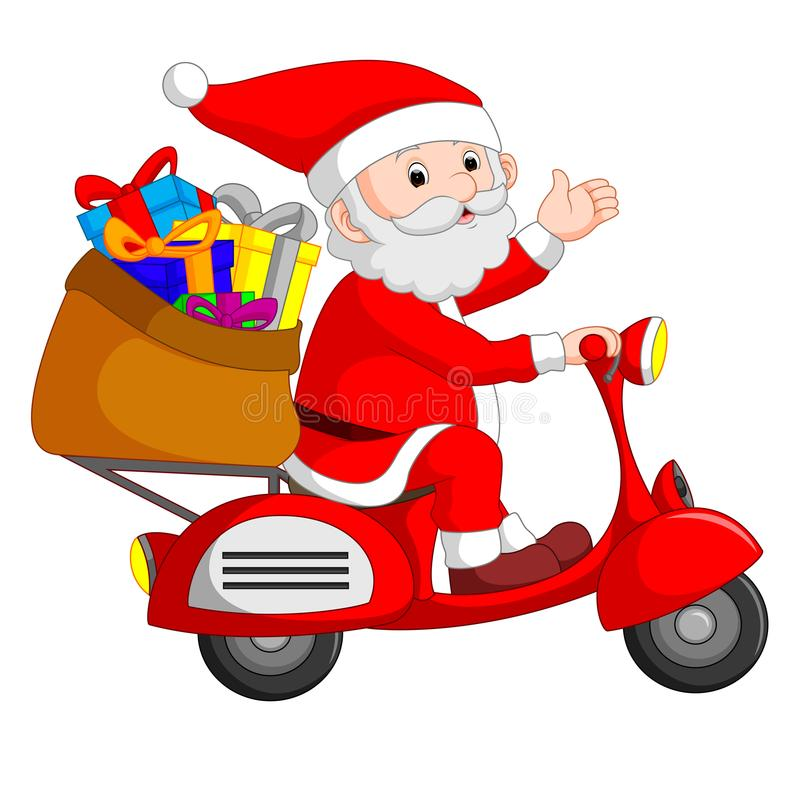 Santa Claus rittmotorcykel stock illustrationer
