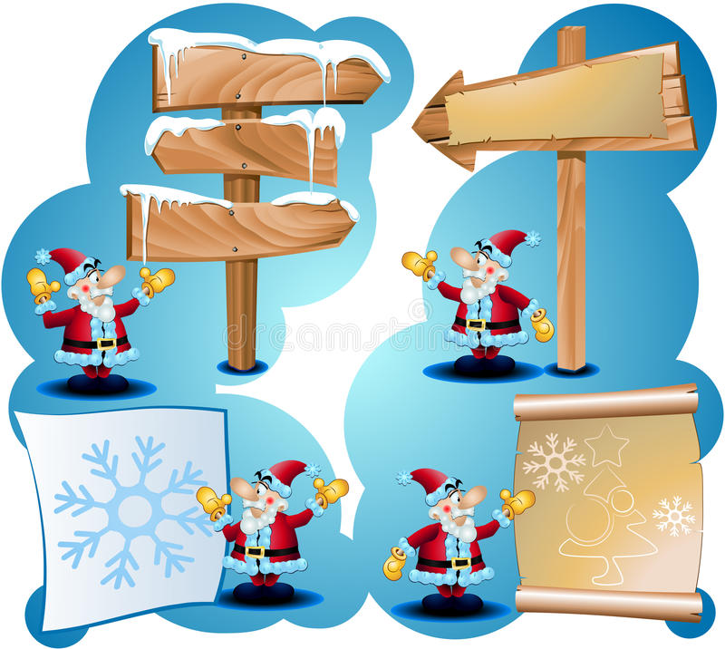 Santa claus and road signs. Santa Claus with the road signs to advertise vector illustration