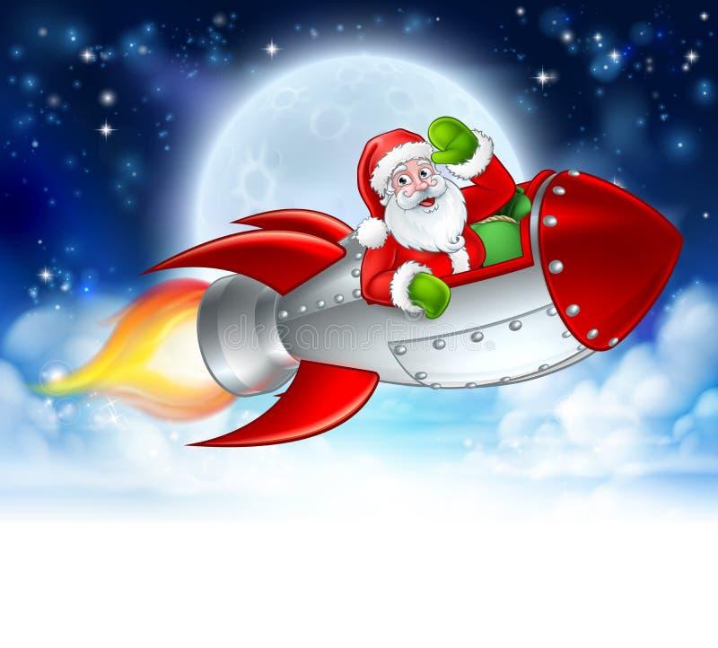 Santa Claus in Rocket Christmas Moon Cartoon royalty-vrije illustratie