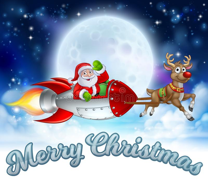 Santa Claus Rocket Sleigh Merry Christmas Graphic vector illustratie