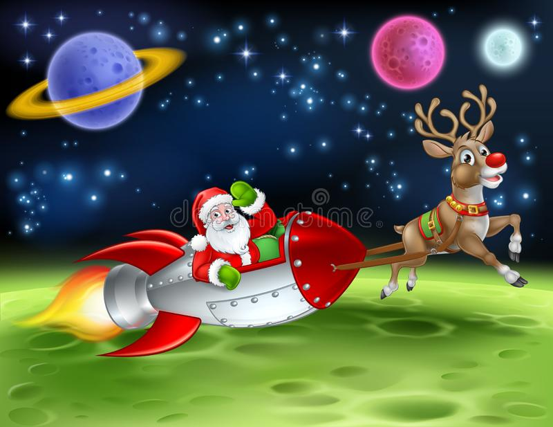 Santa Claus Rocket Sleigh Space Christmas Cartoon illustrazione di stock