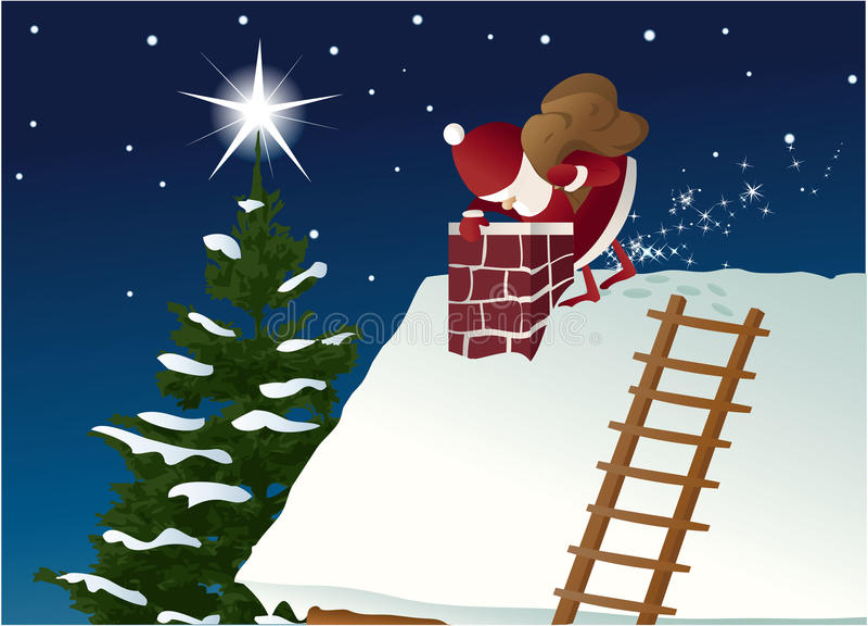 Santa Claus on roof vector illustration