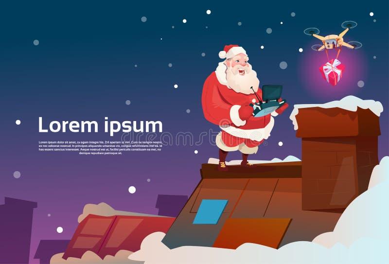Santa Claus On Roof Hold Remove kontrollant Drone Delivery Present, julferie för nytt år royaltyfri illustrationer