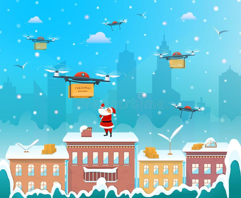 Santa Claus on the roof of the house using drone to delivery Christmas present happy new year merry Christmas holiday concept flat stock illustration