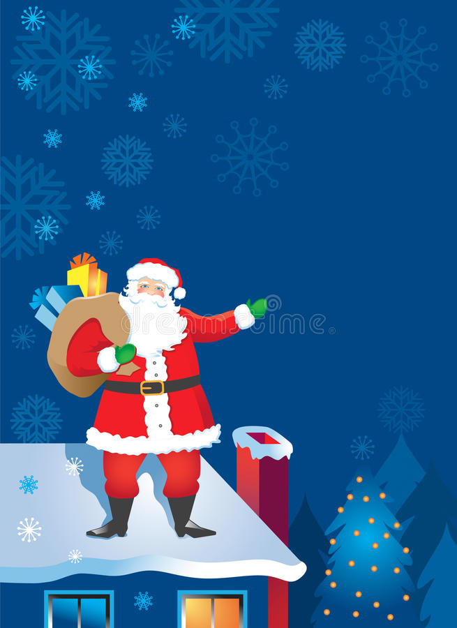 Santa Claus On The Rooftop Royalty Free Stock Photos