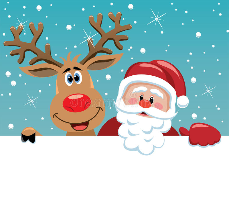 Santa claus and rudolph deer royalty free stock photography