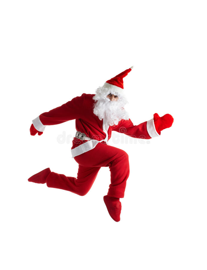 Santa Claus running. Side view of Santa Claus in traditional costume running, isolated on white background