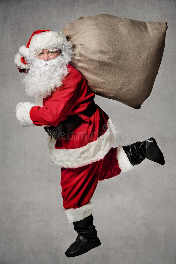 Download Santa Claus running stock photo. Image of happy, poster - 70660472